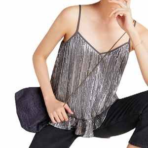 Anthropologie gray sequin ruffle camisole top